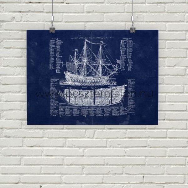 Hajó Vintage Blueprint Poszter