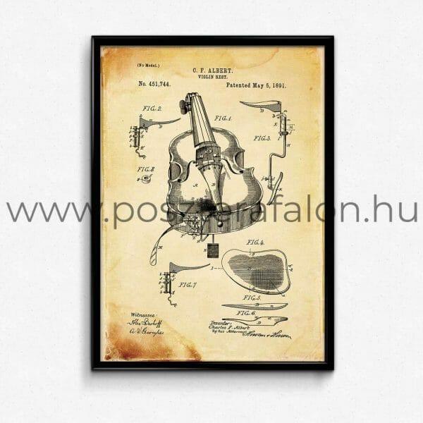 Hegedű vintage poszter, falikép
