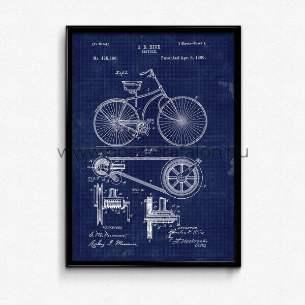 Kerekpár Vintage Blueprint Poszter
