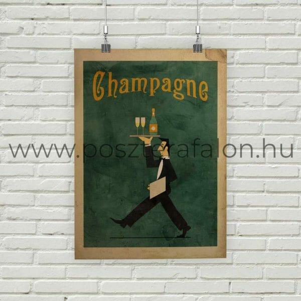 Pezsgő vintage poszter, falikép, fali dekoráció, lakberendezés, faldíszítés, ajándék ötlet