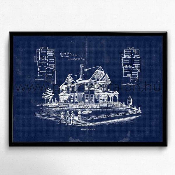 Régi ház vintage blueprint poszter, falikép, fali dekoráció, lakberendezés, faldíszítés, ajándék ötlet
