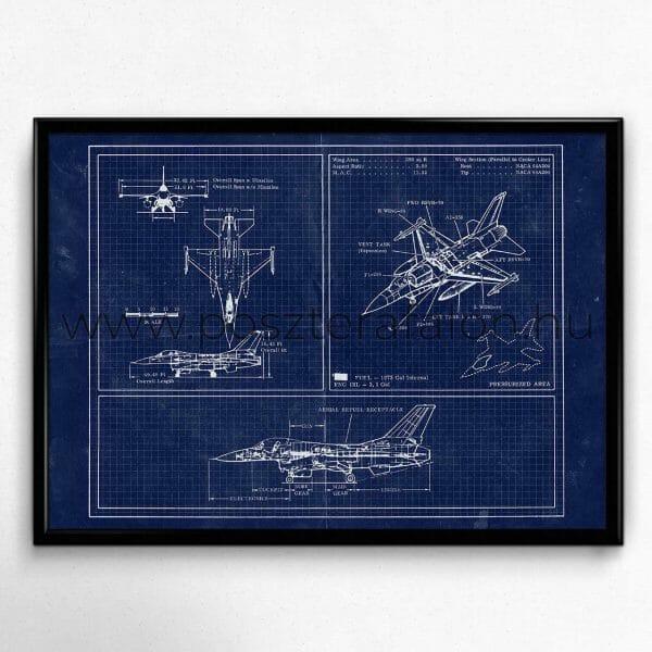 Repülő Blueprint Vintage Poszter Lakberendezés, Homedesign, Falikép, Faliposzter