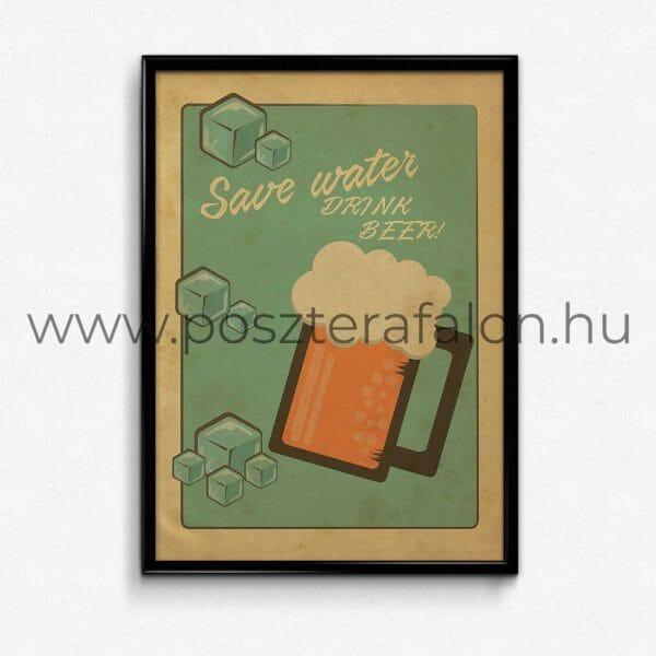 Sörös vintage poszter, falikép, fali dekoráció, lakberendezés, faldíszítés, ajándék ötlet