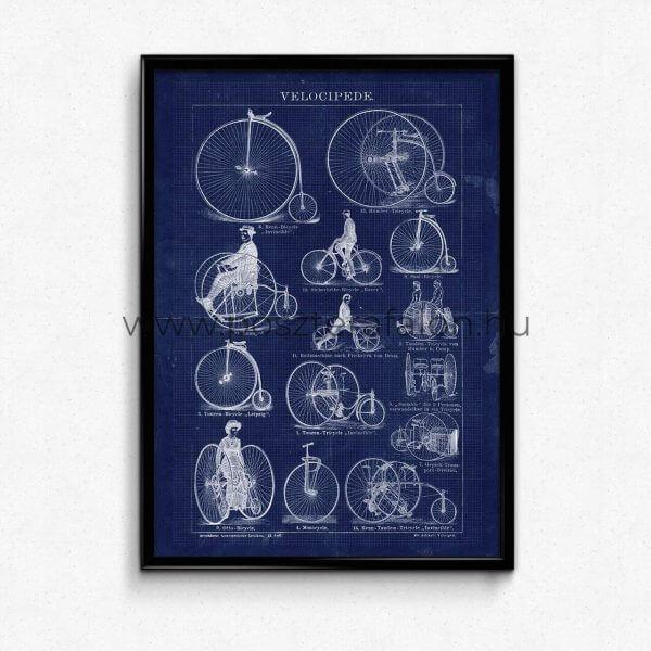 Vintage Biciklis Blueprint Poszter