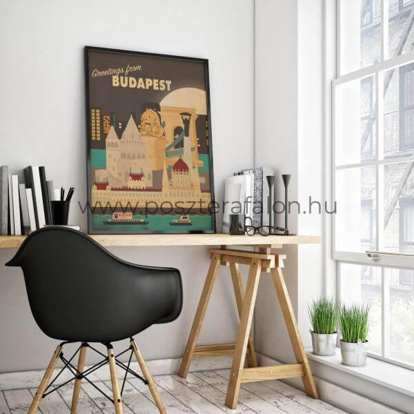 Budapesti látnivalók vintage poszter