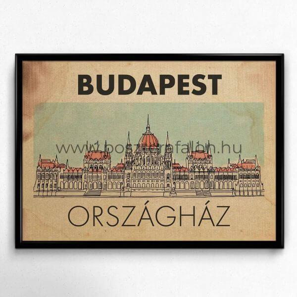 Budapest Országház vintage poszter