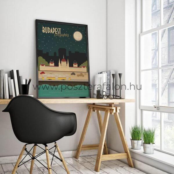 Budapest Országház, Duna és a sárga villamos vintage poszter