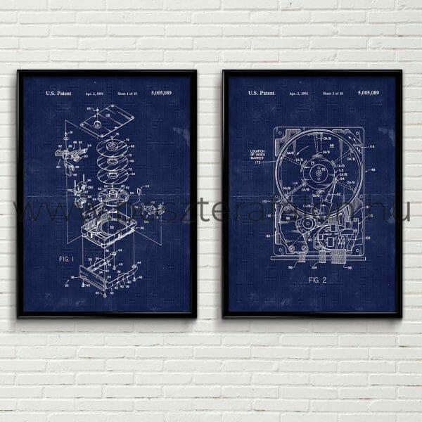 HDD, merevlemez blueprint poszter, falikép, fali dekoráció, lakberendezés, faldíszítés, ajándék ötlet