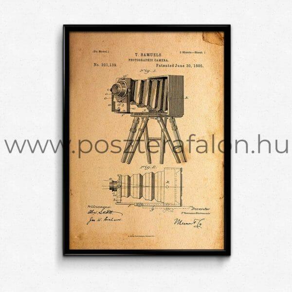 Régi fényképezőgép vintage poszter, falikép, fali dekoráció, lakberendezés, faldíszítés, ajándék ötlet